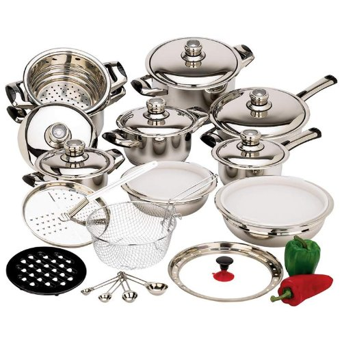28-piece 12-element stainless steel cookware